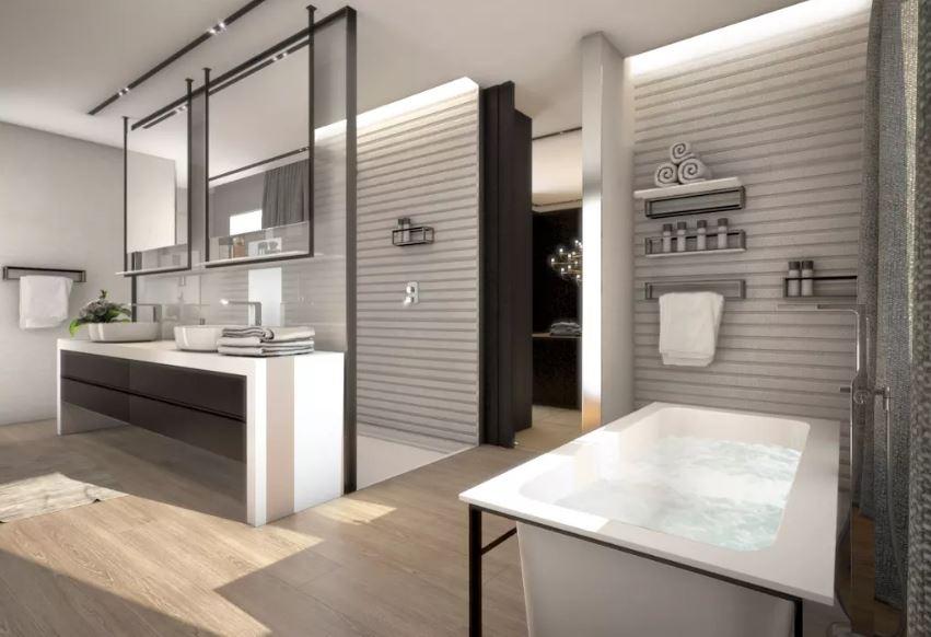 Baño moderno rayas horizontales