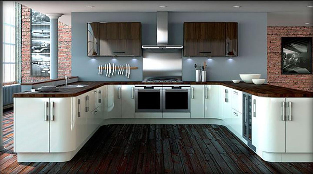 Cocina lacado blanco, marron con decoracion azul