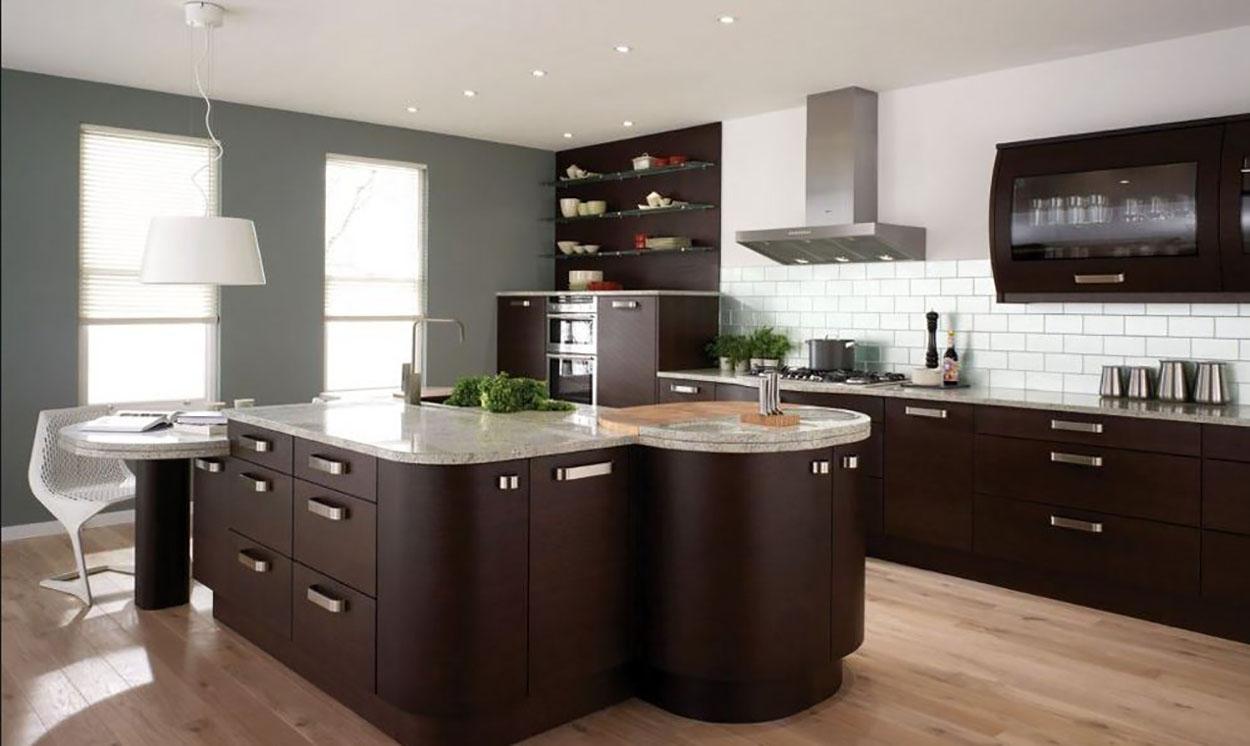 cocina madera marron oscuro