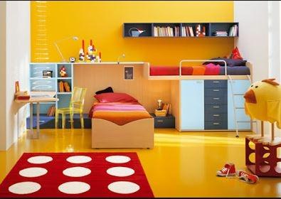 Exposición dormitorio color naranja