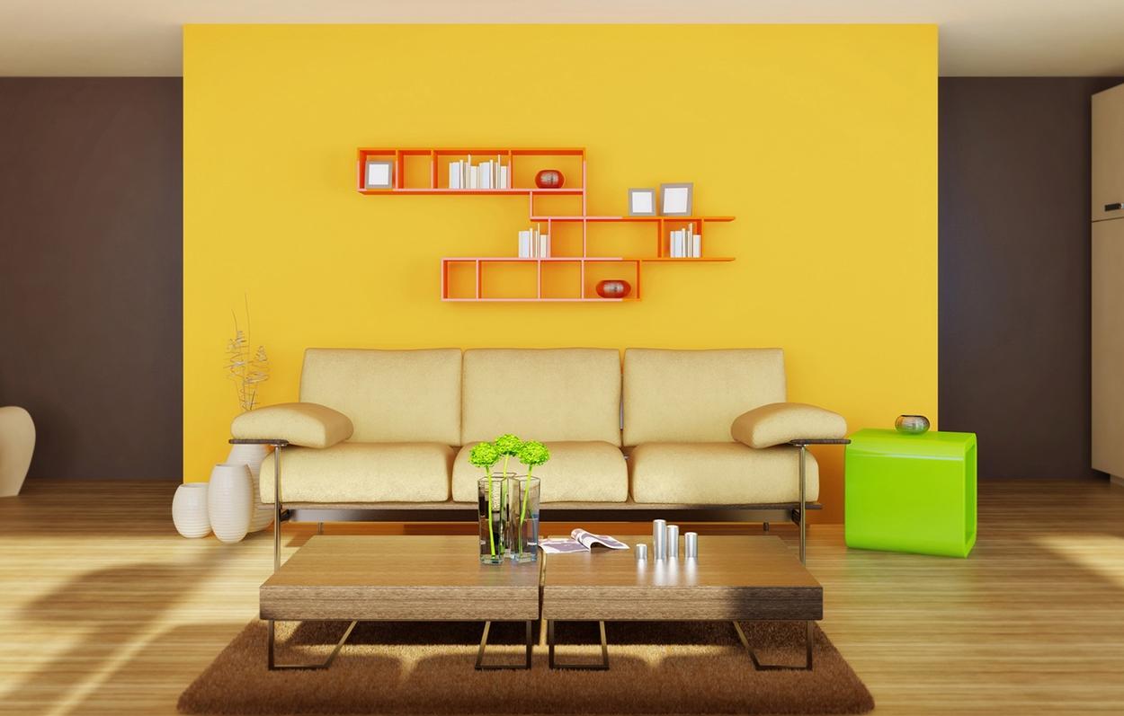 Sala amarilla y marron