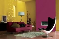 Pintores: Sala colores mostaza y fusia