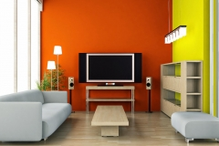Pintores: Salon color naranja y verde limón