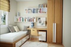 Dormitorio blanco sucio de roble claro