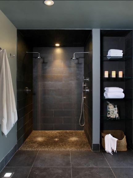 Plato de ducha baldosa gris oscuro