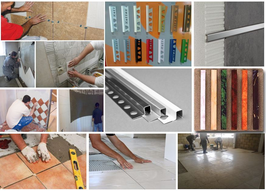 Arcolínea: Fotos con varias imágenes de soladores y alicatadores instalando azulejos y suelos. Listeros de aluminio, acero y PVC