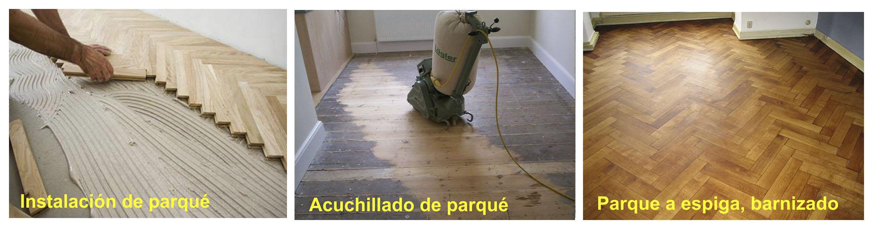 Arcolínea: Instalador instalando parqué de espiga pegado, acuchillado y barnizando el parqué