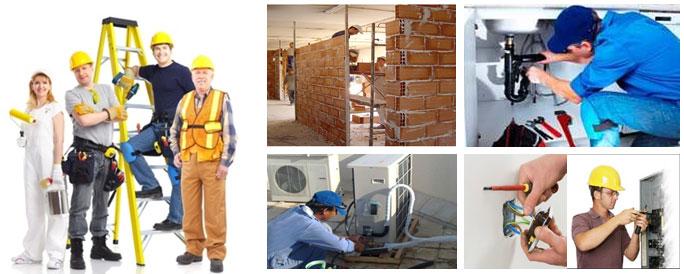 Arcolínea: Oficios, obras y reformas. Seis fotografías donde varios oficios nos muestran su trabajo. Pintores, electricistas, aire acondicionado y albañilería ejecutando tabiques de ladrillo