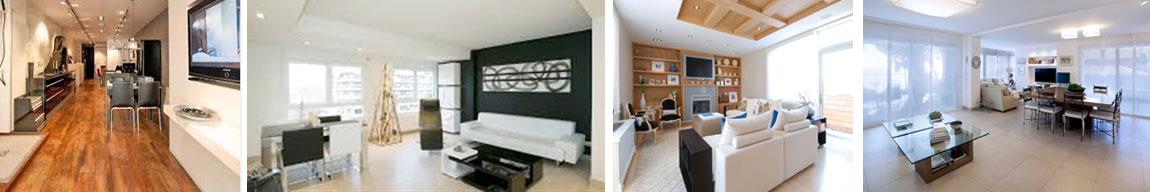 Arcolinea: Quiénes somos. Cuatro fotos de reformas de salones interiores moderos de viviendas.