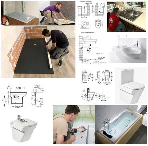 Arcolínea: Varios fontaneros instalando, platos de ducha, sellando bañera y montando aparatos sanitarios