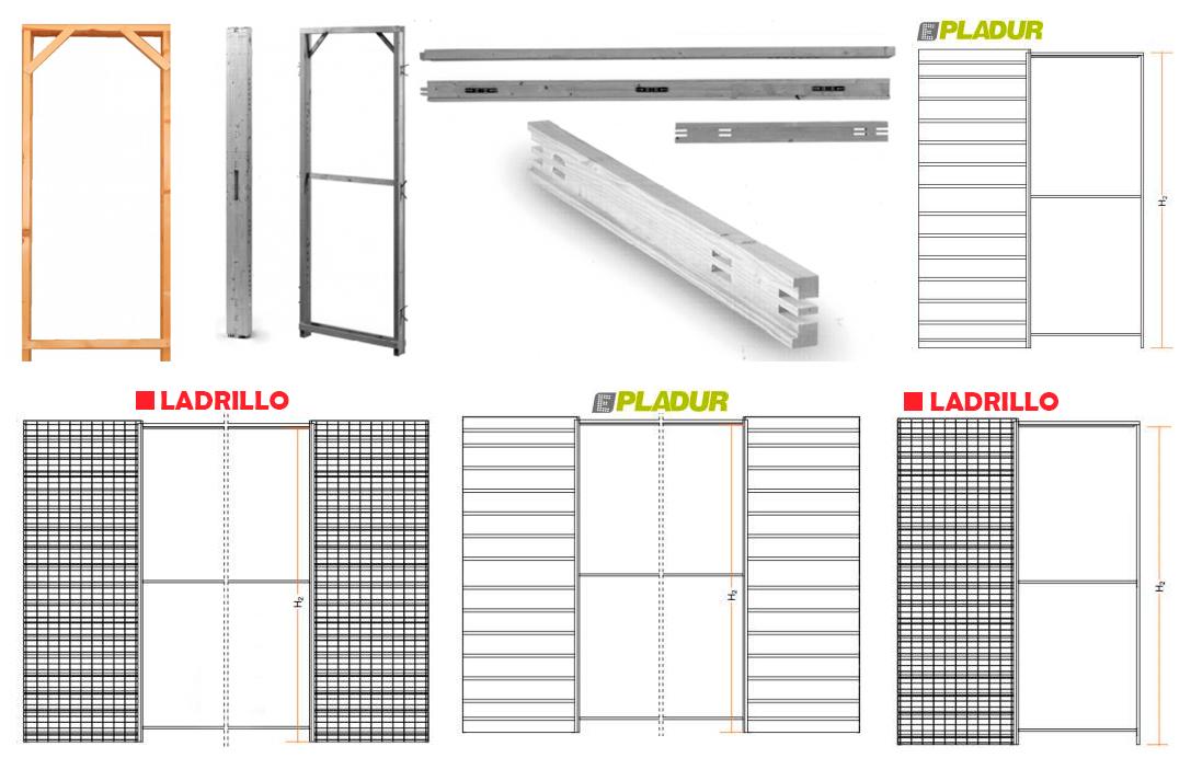 Arcolínea: Precerco madera, estructuras varias para puertas corredera, sencillas y dobles tipo casoneto