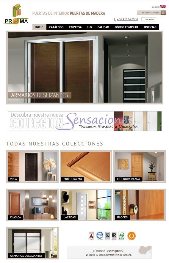 Arcolínea: acceso a URL de puertas PROMA con foto pagina principal de PROMA