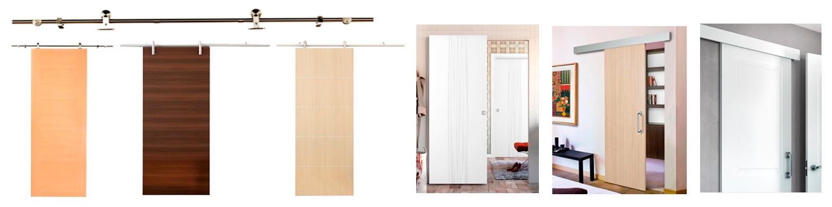 Arcolínea: Puertas correderas de madera con herrajes vistos de acero.