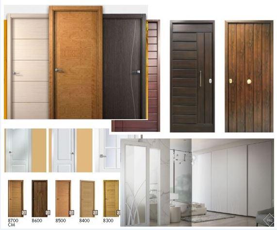 Distintos tipos de puertas de paso de madera y lacadas.