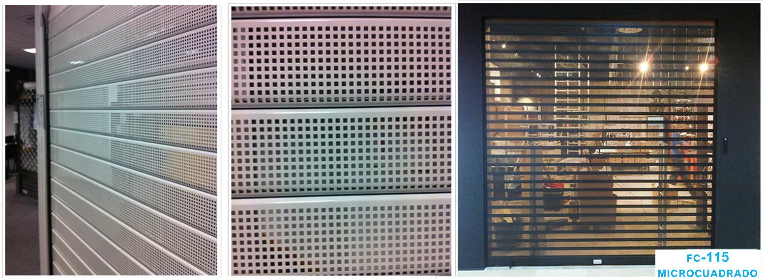 Tres imágenes de cierres metálicos FC-115 con visibilidad microcuadrados.