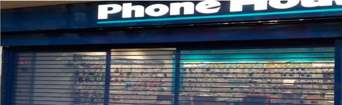 Puerta o cierres metálicos con visibilidad microperforada, phone house